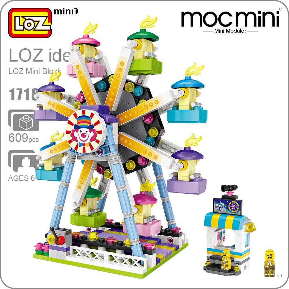LOZ Mini Blocks Ferris Wheel Amusement Park Series Educational Building Block Toys Kid Playground Assembly Model Friend DIY 1718 loz 180 pcs m 9334 building block educational kid toy for spatial thinking