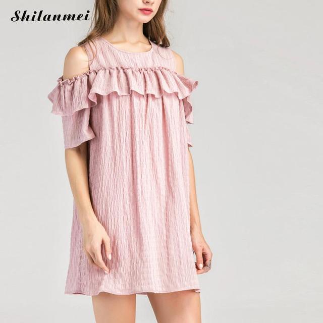 7a53f1044aff Women Summer Dress off shoulder beach dress pink white loose hollow large  zise dress vestidos de playa robe short shirt dress