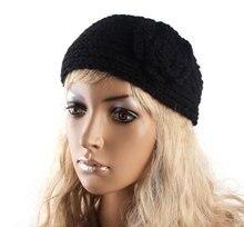 New Arrival Black Camellia Flower Crochet Knit Knitted Headwrap Headband Ear Warmer Hair Muffs Band Winter