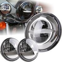 7 Inch Chrome for Harley LED Headlight+ 2x 4 1/2 Chrome Fog Light Passing Lamps for Harley Motorcycle Headlamp