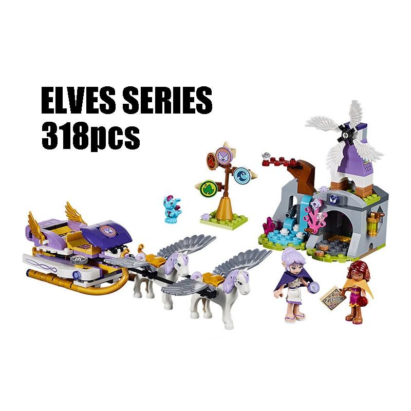 WAZ Compatible Legoe Elves 41077 Bela 10413 318pcs Elves Figure blocks Aira's Pegasus Sleigh building blocks toys for children elves 41077