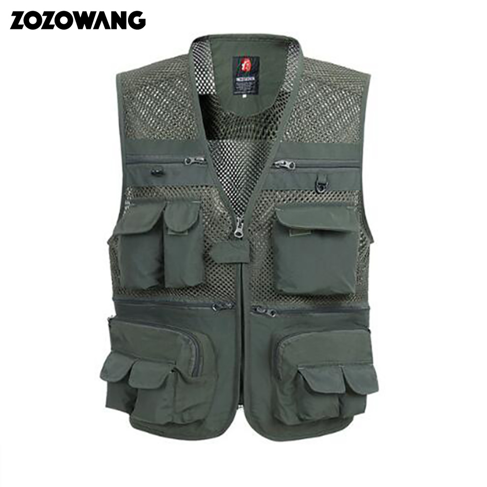 Summer Mesh Vest For Men Spring Autumn Male Casual Thin Breathable Multi Pocket Waistcoat Mens Baggy 5XL Vest With Many Pocket