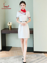 New beauty salon beautician work clothes dress female jewelry shop stewardess uniform technician summer short sleeves