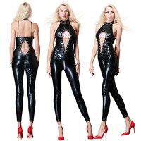 Pole Dance Lingerie Sexy Women Lingerie Latex Black Female Erotic Catsuit Body Suits Fetish Zipper Open Crotch Clubwear Jumpsuit