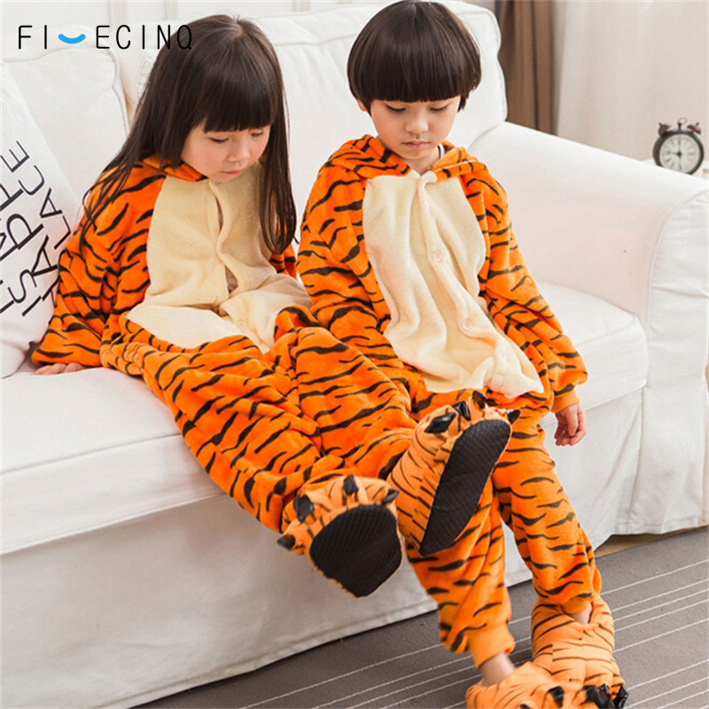 Children Tiger Cosplay Costume Animal Cartoon Pajama Boy Girl Carnival Festival Party Onesie Kids Cute Kigurumi Soft Sleep Fancy