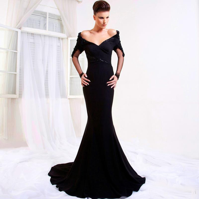 2b4e9fda5e86 2017 arabic New Sexy Black Evening Dresses Off The Shoulder Long Sleeve  Formal Party Gown from Dubai Robe De Soiree