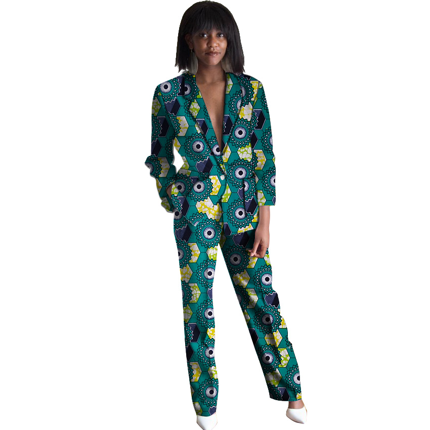African print blazers with trousers womens set elegant pant+blazer dashiki suit female wedding/party outfits