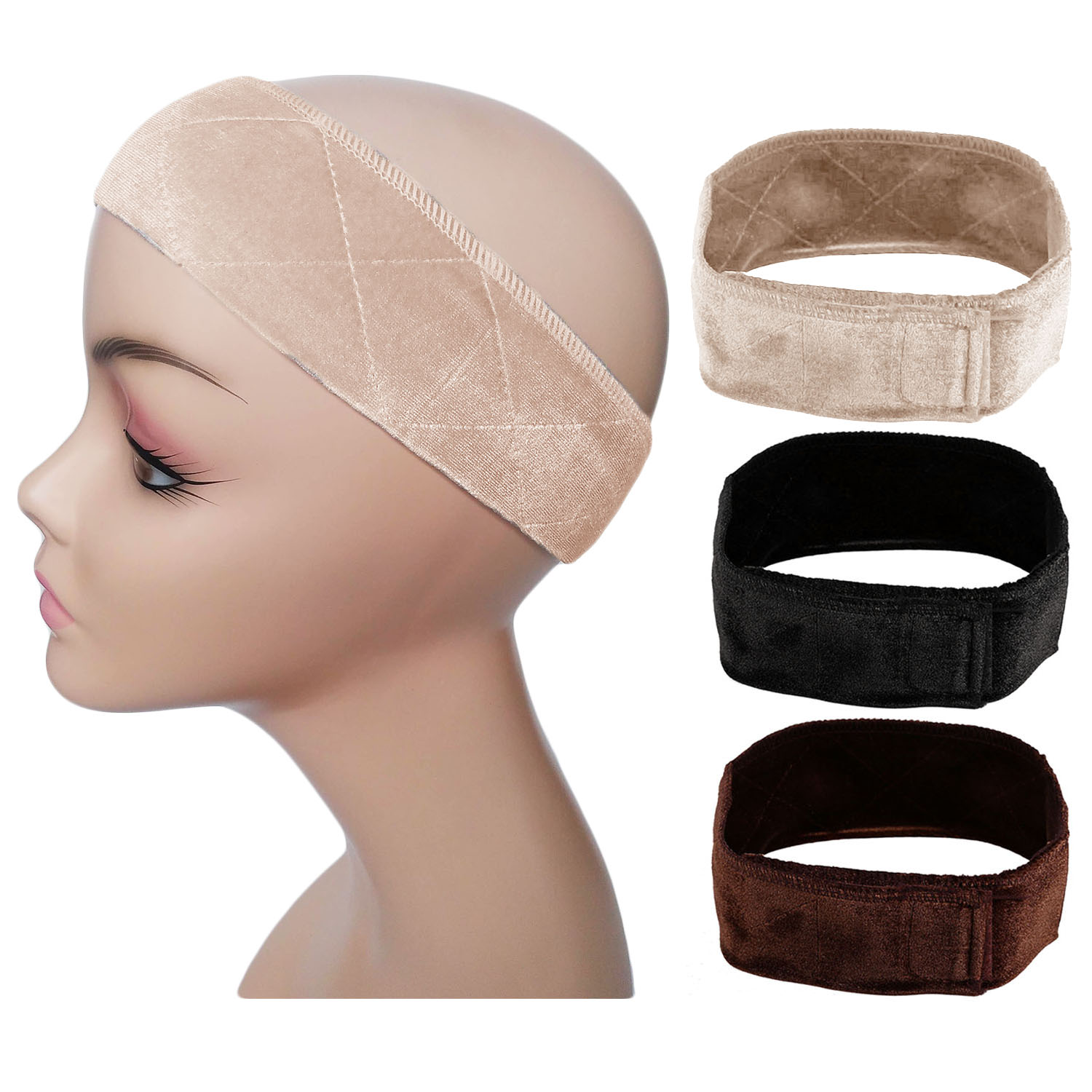 1pc Adjustable  Velvet Non-slip Wig Grip Band With Hook And Loop Tape For Holding Your Wig Hat Scarf Hair Wigs Head Hair Band