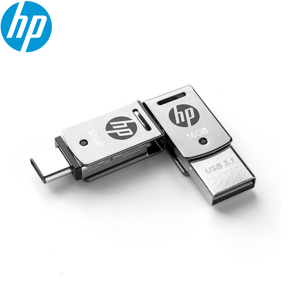 Original HP X5000M Metal OTG Type-C USB 3 1 USB Flash Drive for SmartPhone Tablet 128GB 64GB 32GB Pendrive High speed Black logo