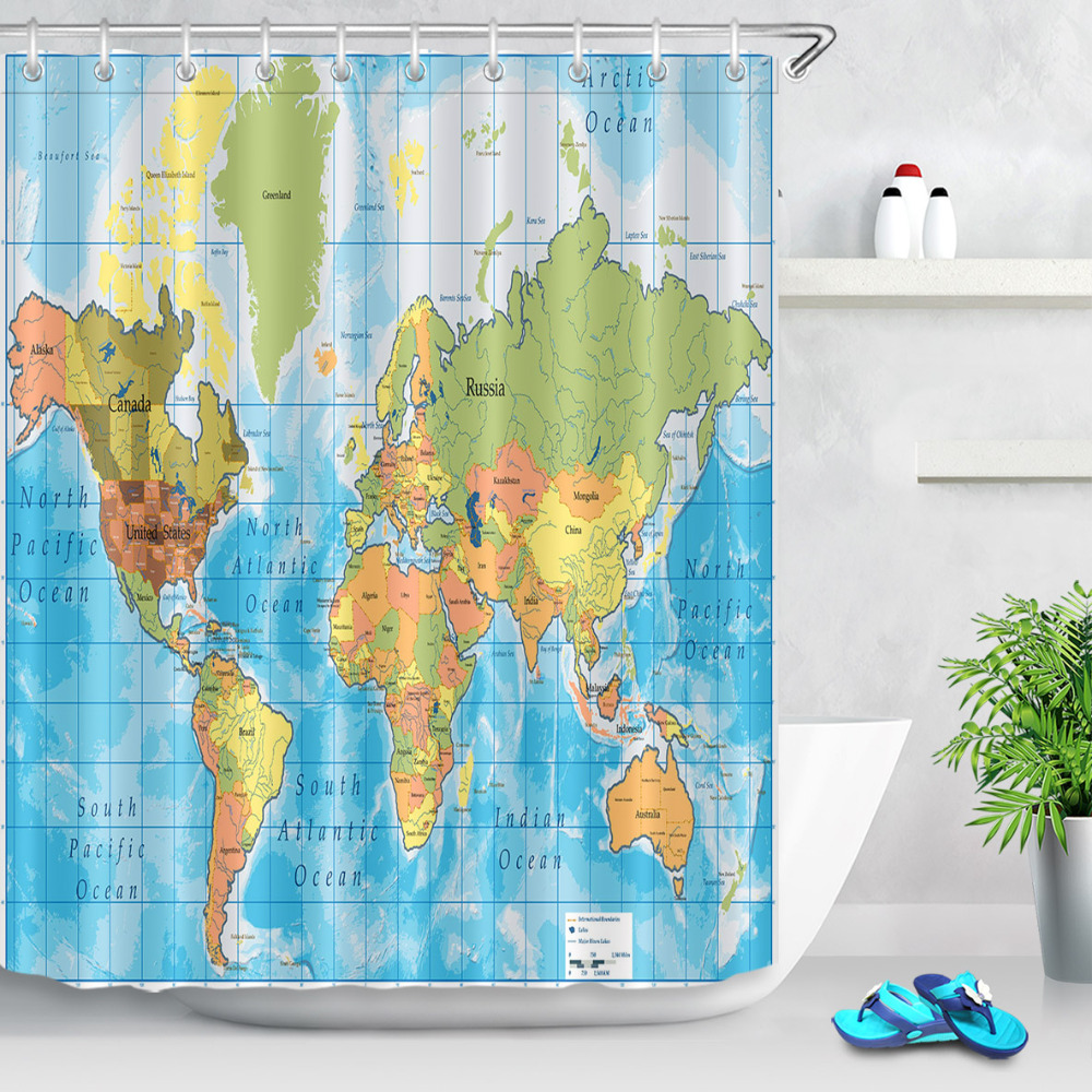 Lb colorful detailed world map shower curtain with all names of lb colorful detailed world map shower curtain with all names of countries river lake blue oceans seas bathroom curtain 180180cm in shower curtains from gumiabroncs Gallery