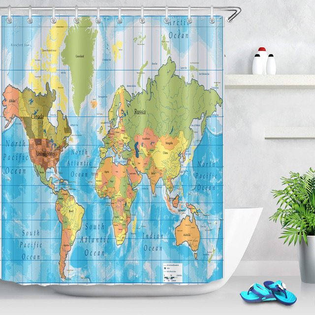 LB Colorful Detailed World Map Shower Curtain with all Names of ...