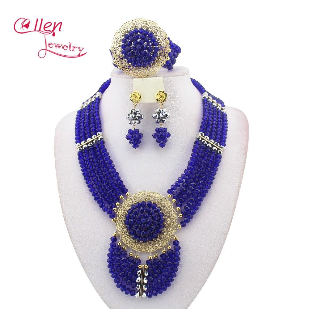 இModa azul real cristal nigeriano Cuentas collar pulsera Pendientes ...
