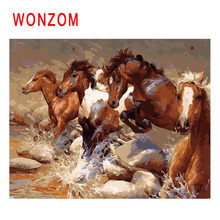 WONZOM Horses Run Painting By Numbers Abstract Oil Animal Cuadros Decoracion River Acrylic Paint On Canvas Modern Art