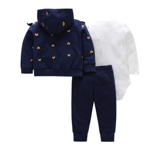 Image 2 - 秋の女服ハート柄コート & ジャケット + 手紙ロンパース + パンツ3枚の衣類のセット6 24m bebesの少年少女の衣装