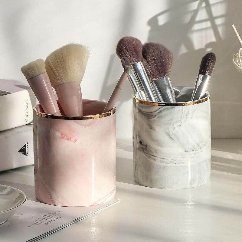 Ethereal Europe Makeup Brush Storage Tube Eyebrow Pencil Makeup Organizer Marble Pattern Jewelry Storage Box