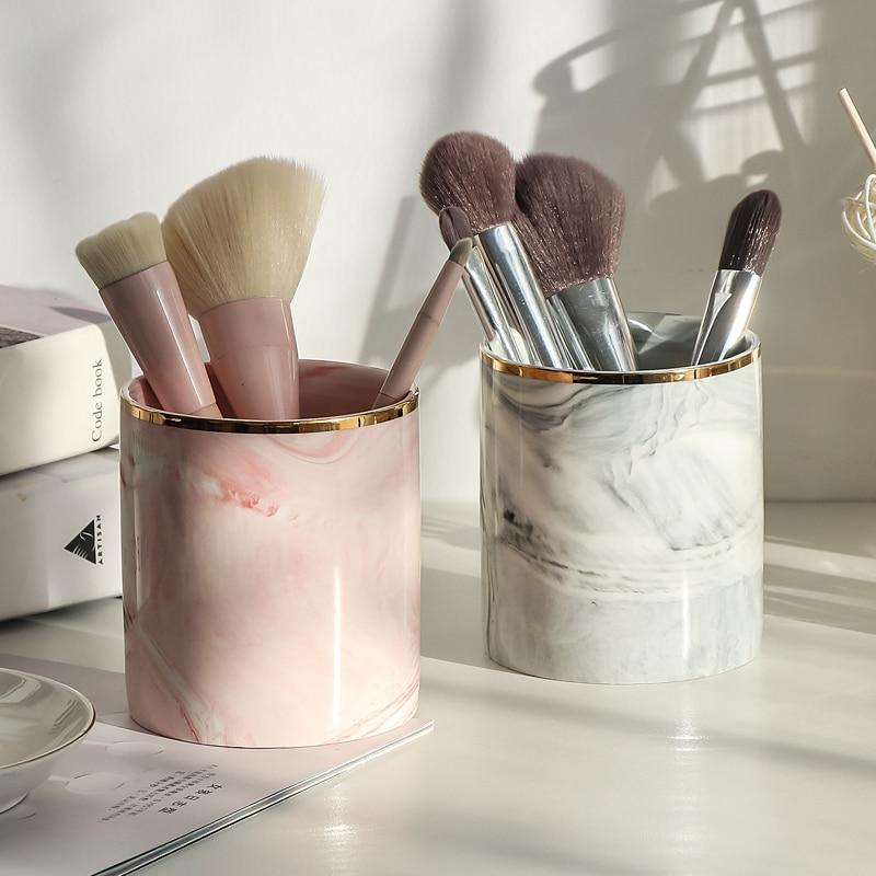 Ethereal Европейский макияж кисти для хранения трубки карандаш для бровей органайзер для макияжа мраморный узор коробка для хранения ювелирных изделий|Ящики и баки для хранения|   | АлиЭкспресс