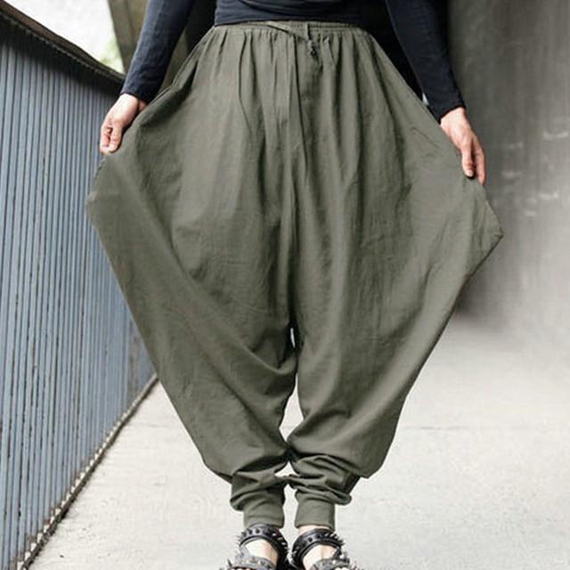 9ea758608c85 Pants Summer Men Casual Harem Loose Pants Low Drop Crotch Wide-Leg Long  Trousers Male