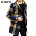 2016 new arrival winter Single-breasted fashion casual trench men, England plaid casual coat ,plaid jacket men plus-size M-3XL