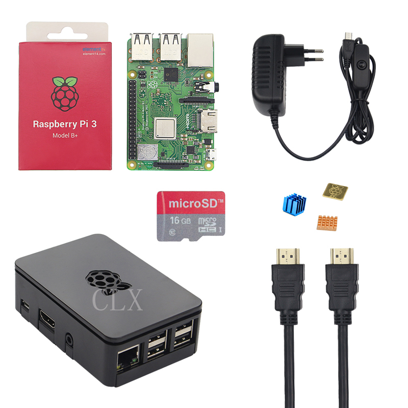Raspberry Pi 3 B+ Starter Kit 3A Power Supply Adater + 16 32GB SD Card+HDMI cable+ Case +Heat Sink for Raspberry Pi 3 Model B+ fx 7 sunx photoelectric sensor fx7