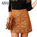 AZULINA Suede Leather Straight Women Skirt Retro Tight Short Faux Leather Khaki Slim 2017 Spring Summer Vintage Mini skirts