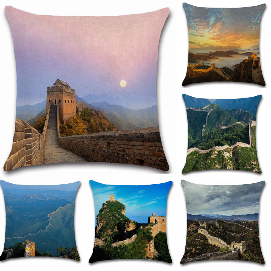 World famous scenery Great Wall of China photos pillow case Cushion Cover decoration for home sofa chair seat friend kids gift