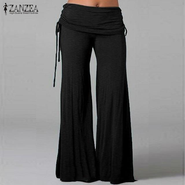 Новый ZANZEA Мода 2016 Женщин Удобные Брюки Широкую Ногу Эластичный Пояс Брюки Женские Случайные Свободные Брюки Плюс Размер S-4XL