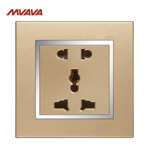 Free Shipping,MVAVA 5 Pin Universal Outlet Wall Decorative Multifunction Receptacle 2/3 Pin Plug Luxury PC Chromed Gold Socket wallpad luxury universal socket goats brown leather frame ac 110v 250v 5 pin universal wall socket outlet free shipping