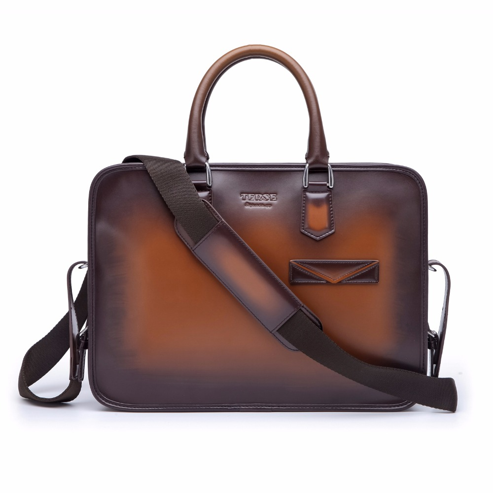 TERSE_Brand  2018 New Luxury Men's Briefcase Handmade Genuine Leather Men's Bag Business Leather Handbag Customize Logo TS9556
