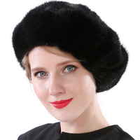 Valpeak 2017 Winter Hat Female Real Mink Fur Hat Lining Russian Fashion Furry Warm Women Beret