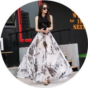 Женская длинная шифоновая юбка, летняя, с эластичной талией и принтом, большие размеры, H327