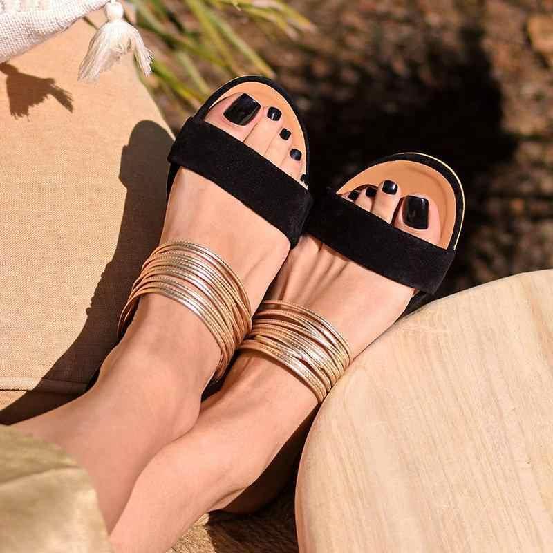 2019 Phụ Nữ Mới Nêm Giày Sandal Mùa Hè Nóng Võ Sĩ Giác Đấu Chống Trơn Trượt Dép Đàn Nữ Đảng Công Sở Giày Dép Đi Biển