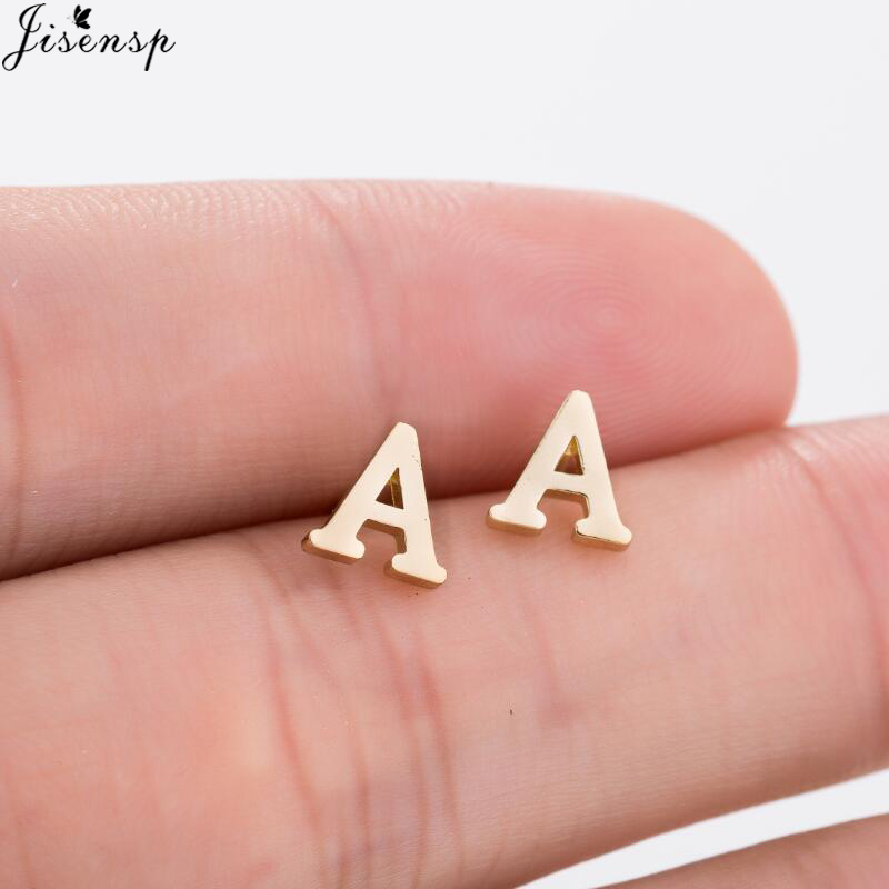 Jisensp Fashion Tiny Initial Letter Earrings Personalize Bridesmaids Gift Cute Alphabet Stud Earrings Everyday Jewelry brincos
