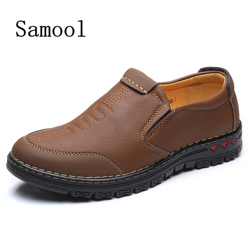 SAMOOL Casual Shoes For Men Slip On Leather Driving Shoes Men's Flats  Round Toe Lazy Shoes  Khaki Colors Foot Shoes branded men s penny loafes casual men s full grain leather emboss crocodile boat shoes slip on breathable moccasin driving shoes