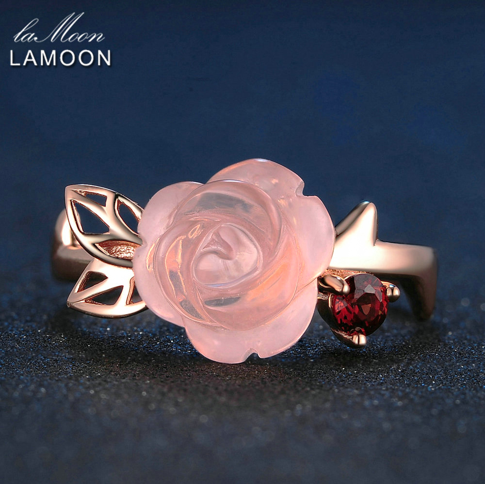 LAMOON Engagement Rings naisille Rose Flower 100% Natural Pink Romanttinen Rose Quartz 925 Sterling Silver Korut Anel RI025