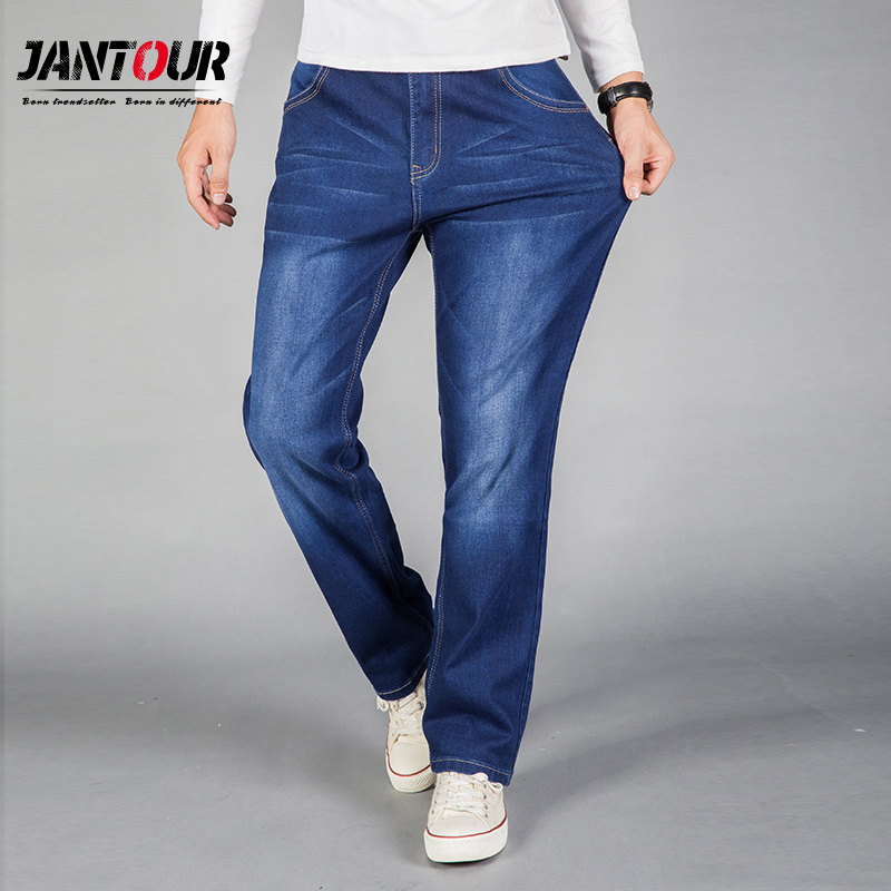 Men's Clothing 2019 Jeans Men Straight Fit Blue Stretch Denim Pants Large Size Trousers Business Cowboys Man Loose Fit Men Plus Size 40 42 44 Attractive Fashion