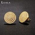 LUALA Nova Chegada Clássico Jóias Brincos Redondos Para As Mulheres Casamento Banhado A Ouro Garanhão Presente Brinco E0046