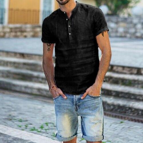 UK Men's Linen Short Sleeve Summer Solid Shirts Casual Loose Dress Soft Tops Tee 5
