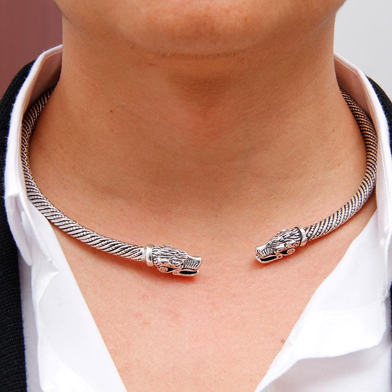 Lakone Teen Wolf Kopf Viking Halskette Choker Kragen Indischen Schmuck Mode Zubehör Manschette Halskette Männer Frauen 2019 Dropshipping