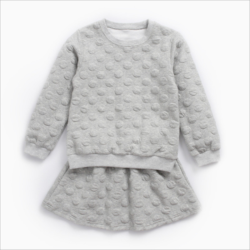 Children's clothing three-dimensional wave point children's sportswear long-sleeved crew neck sweater skirt two-pieces superconductivity in two dimensional crystals