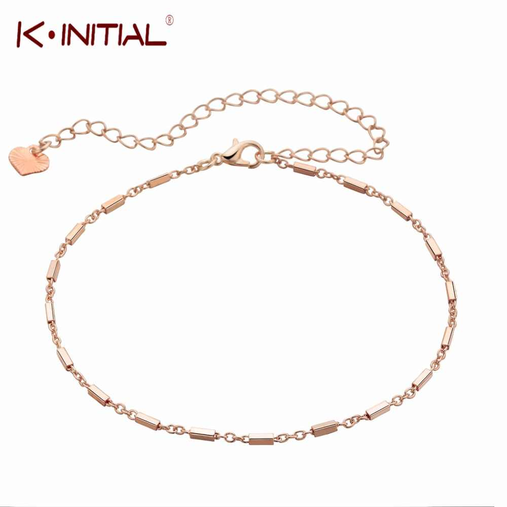 Geometric Multi Bar Anklets for Women Fashion Square Bar Anklet Rose Gold Decoration Bracelet Beach Foot Jewelry