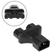 IEC 320 C14 3-Pin Male To 2X C15 3-Pin Female Plug Converter Y Splitter Adapter