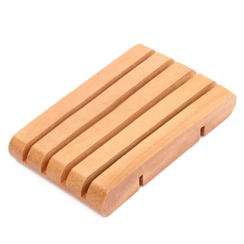 Wooden Home Bathroom Shower Soap Box Dish Plate Holder Drip Tray Case Container