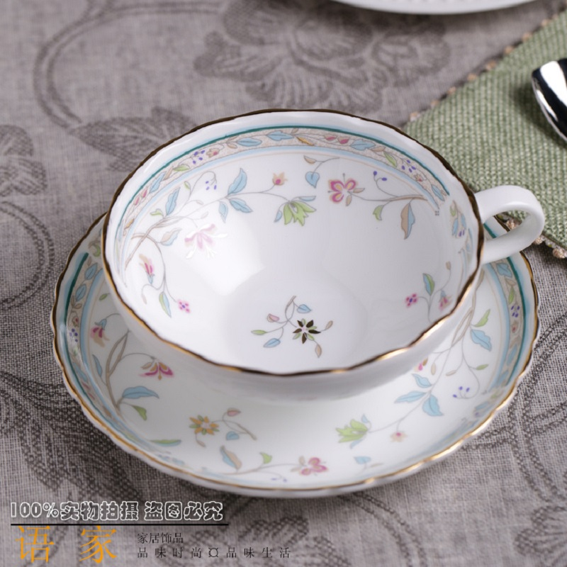 High-end British-style  high-grade bone china hand-painted gold coffee cup and saucer