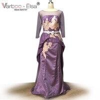 VARBOO ELSA Vestido De Festa Arabic Purple Long Sleeve Appliques Evening Dresses Floor Length Prom Dress