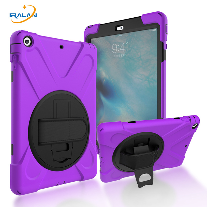 2017 Hot Kids Shockproof Silicone Case for Apple iPad 5 Heavy Duty Hard Cover For iPad air kickstand Hand straps shell+film+pen hmsunrise case for apple ipad air 1 kids safe shockproof heavy duty silicone hard cover for ipad 5 case with wrist strap
