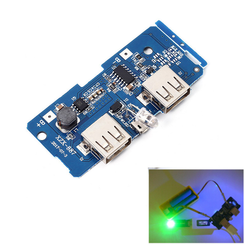 3pcs 5V 2A Power Bank Charger Board Charging Circuit Board Step Up Boost Power Supply Module Dual USB Output