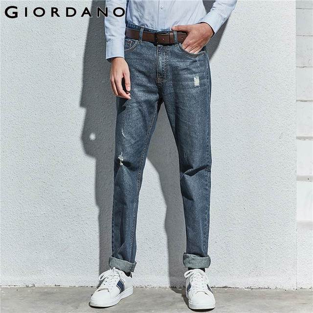 buscar venta al por mayor 100% autentico US $30.08 36% OFF|Giordano Men Jeans Low Rise Shredded Jeans For Men Hole  Vaqueros Hombre Calsas Masculina Jeans Fashion Denim Pants Men-in Jeans  from ...