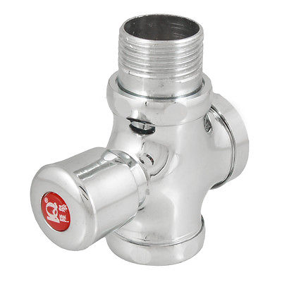 Silver Tone PT 1 Male Thread Press Button Type Toilet Flush Valve 13mm male thread pressure relief valve for air compressor