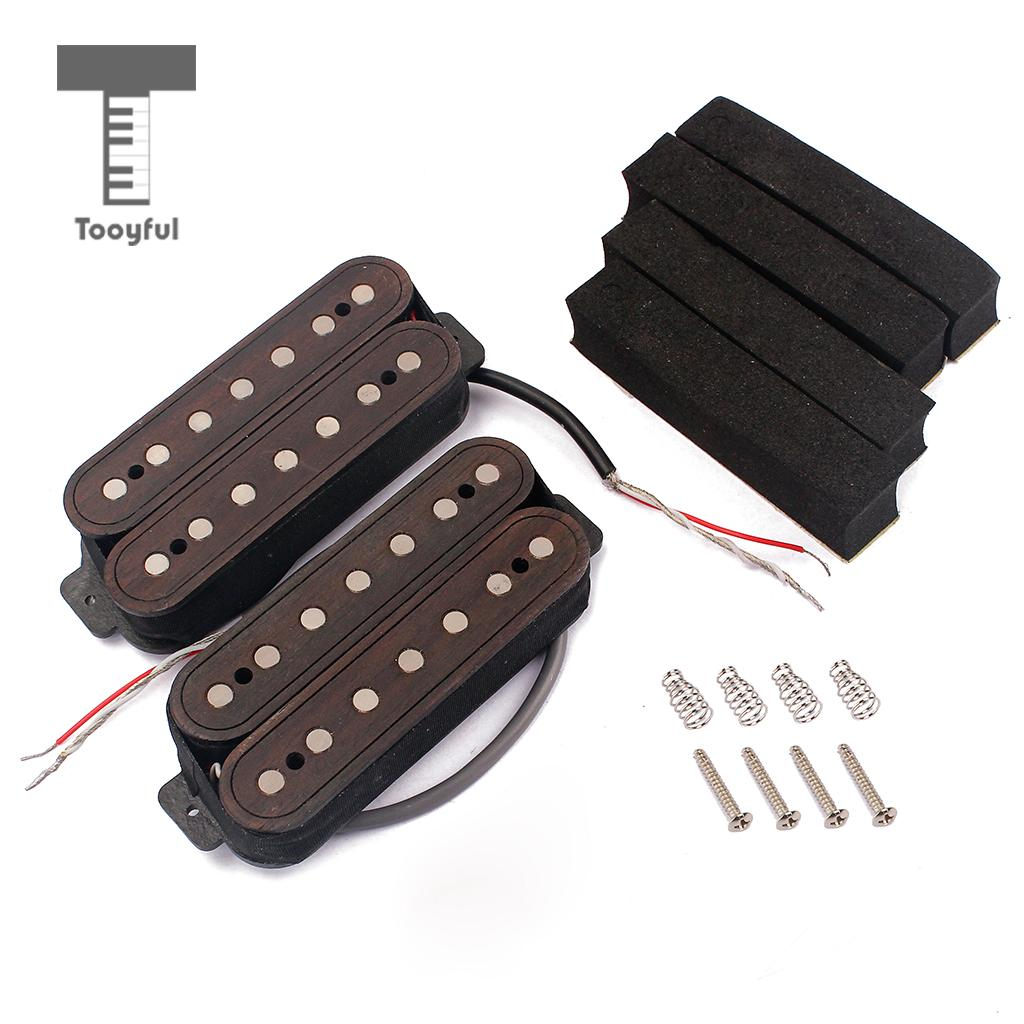 Tooyful Guitar Replacement Wired Humbucker Dual Coils Pickup ALNICO 5 Neck+Bridge for 7-String Guitar/Pedal Steel Guitar Parts belcat electric guitar pickups humbucker alnico 5 humbucking bridge neck chrome double coil pickup guitar parts accessories