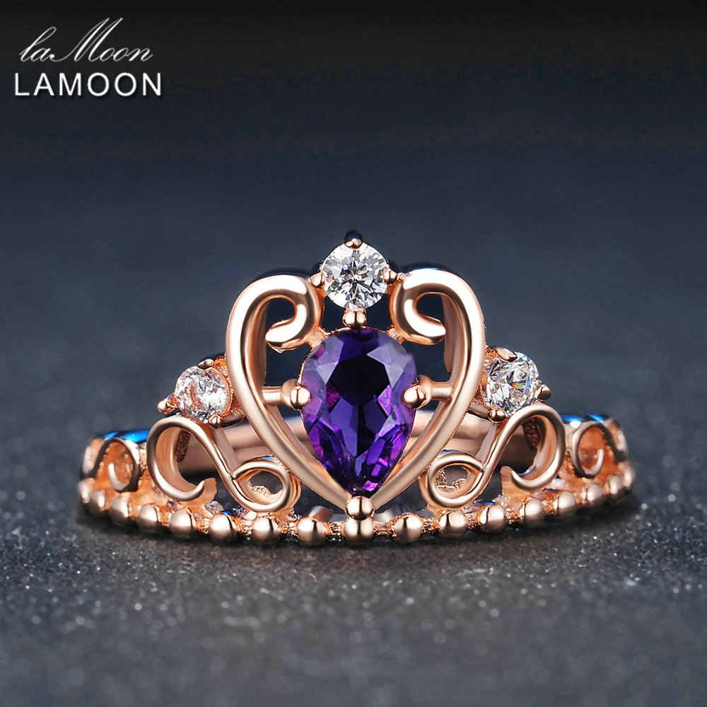 LAMOON Crown Natural Teardrop Amethyst 925 Sterling Silver Jewelry Wedding Ring with Rose Gold Plated S925 For Women LMRI049